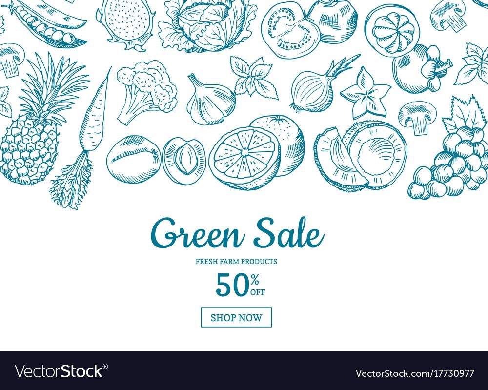 Handdrawn fruits and vegetables horizontal vector image