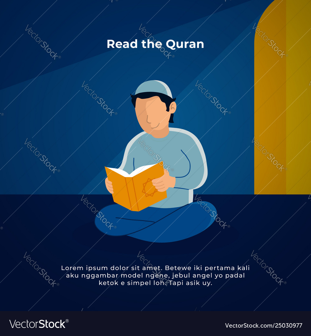Muslim man reading holy quran in mosque