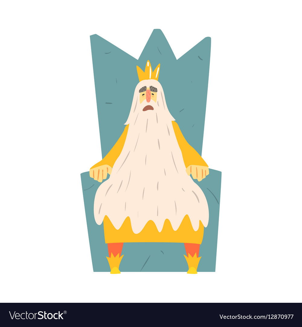 Old King With Very Long Beard Sitting On The