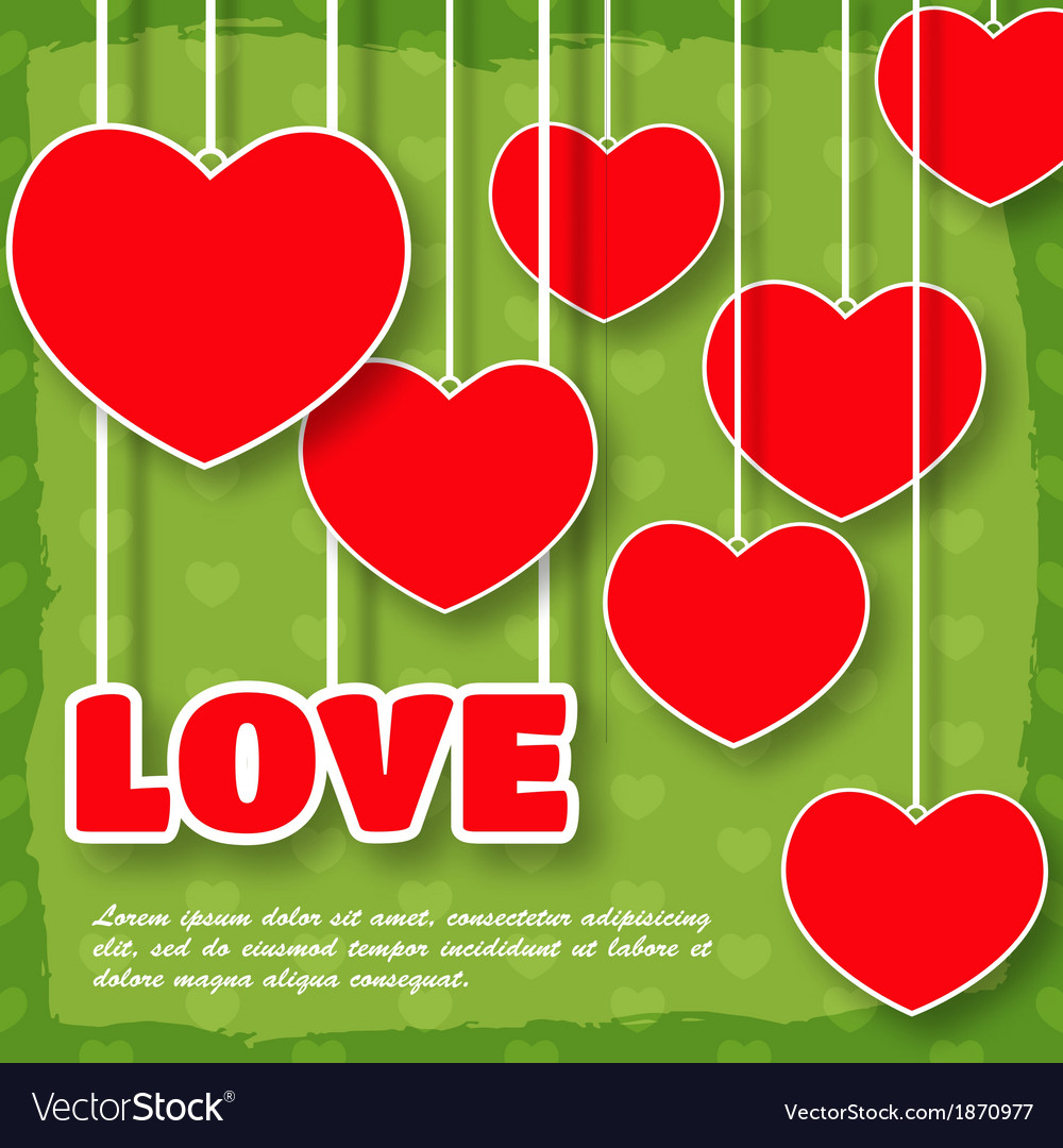 Red paper hearts background Valentines day card vector image