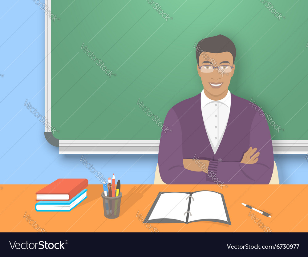 School teacher man at the desk flat education