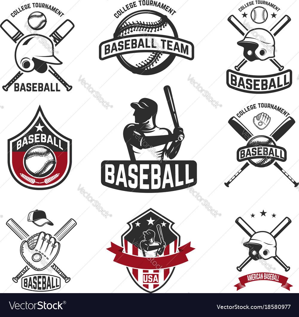 Set baseball emblems baseball bats helmets