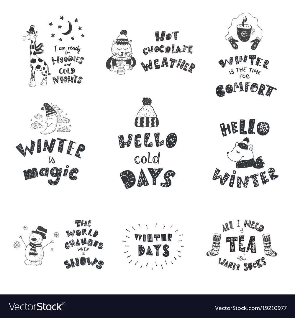 Set of cute animals and winter quotes nursery art Vector Image