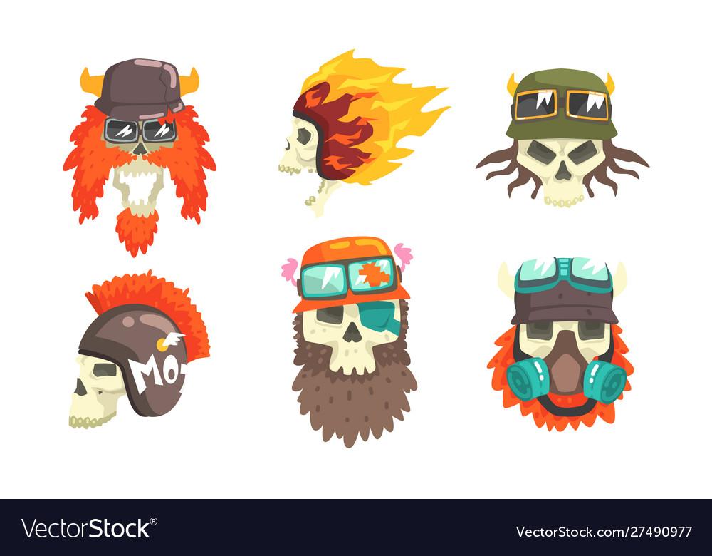 Skull heads with beards wearing retro helmets set