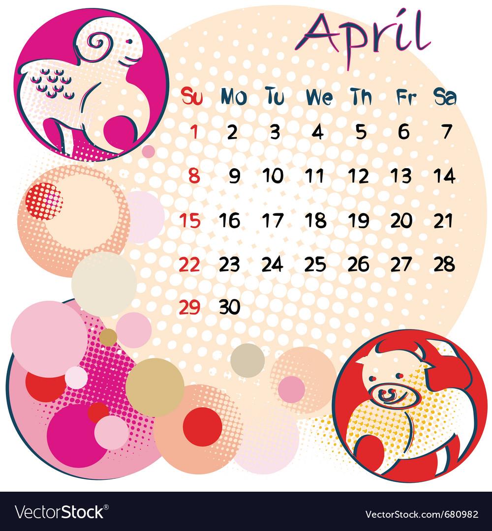 2012 calendar april