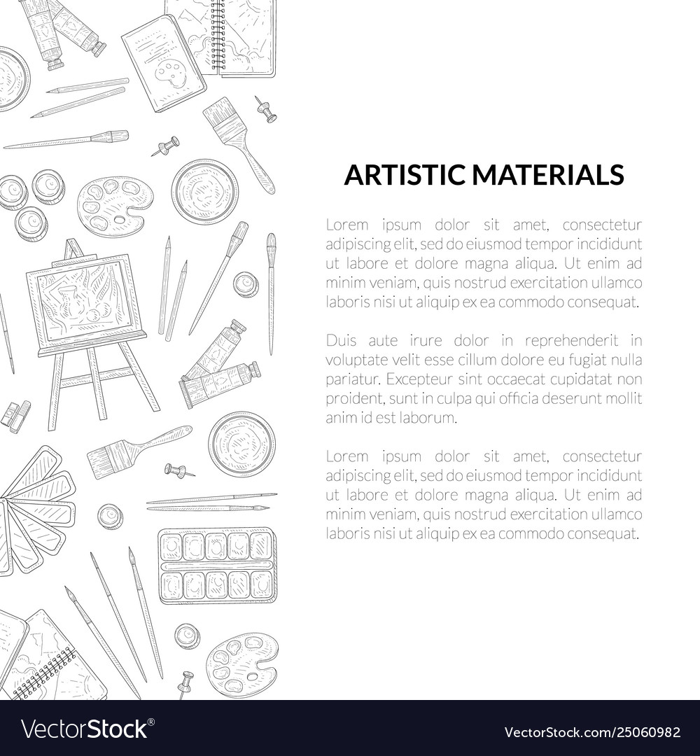 Artistic materials banner template painter tools