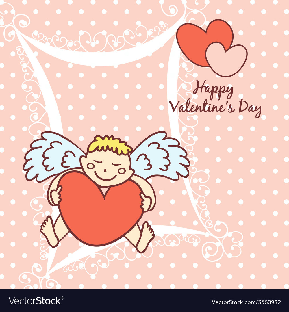 Cupid cute card for valentines day royalty free vector image cupid cute card for valentines day vector image voltagebd Image collections