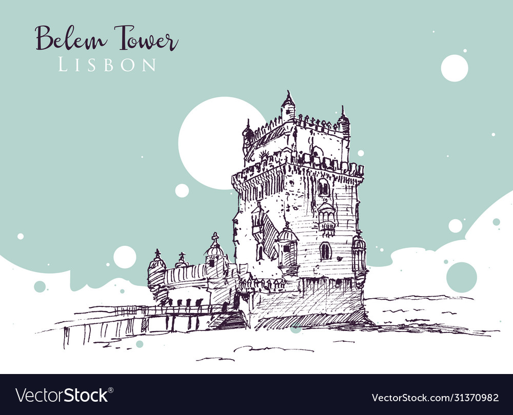 Drawing sketch belem tower