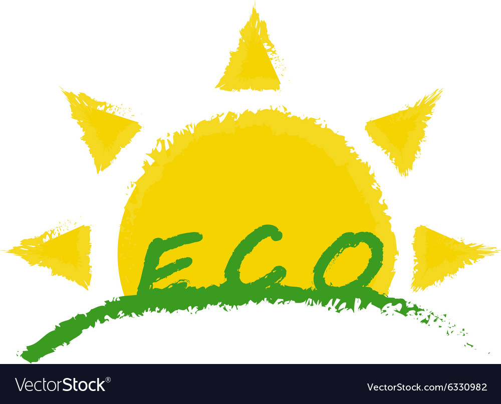 Eco product label Sunrise in green valley
