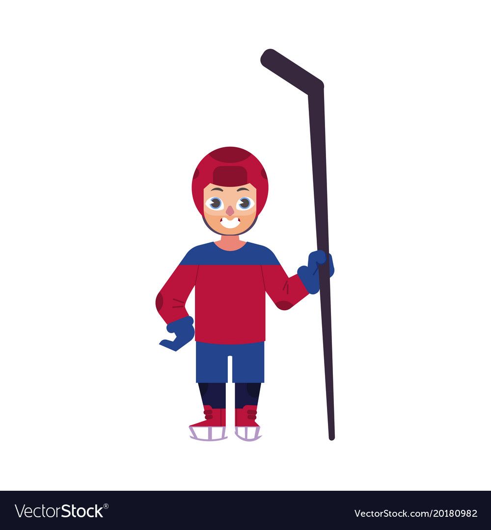 Flat ice hockey player boy isolated