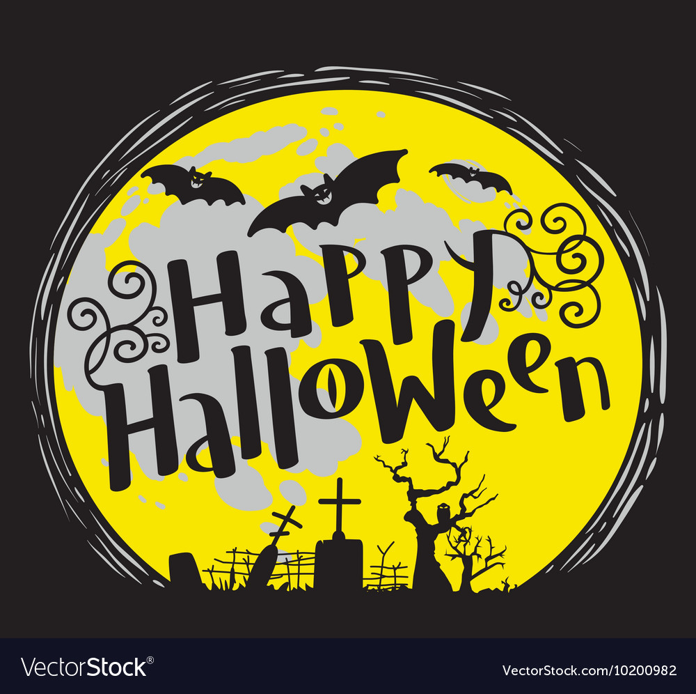 Happy Halloween lettering with cemetery and bats vector image