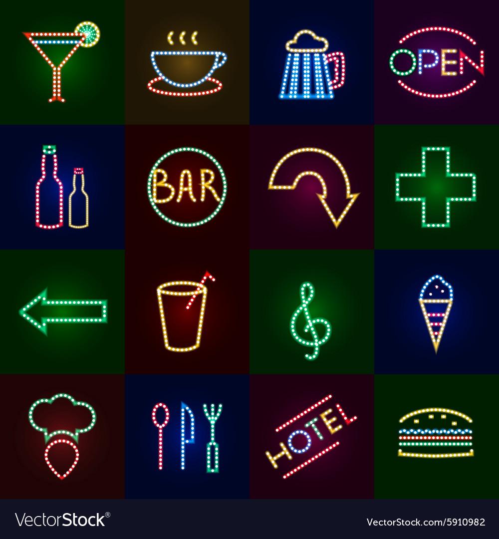 Led Lights Icons Set