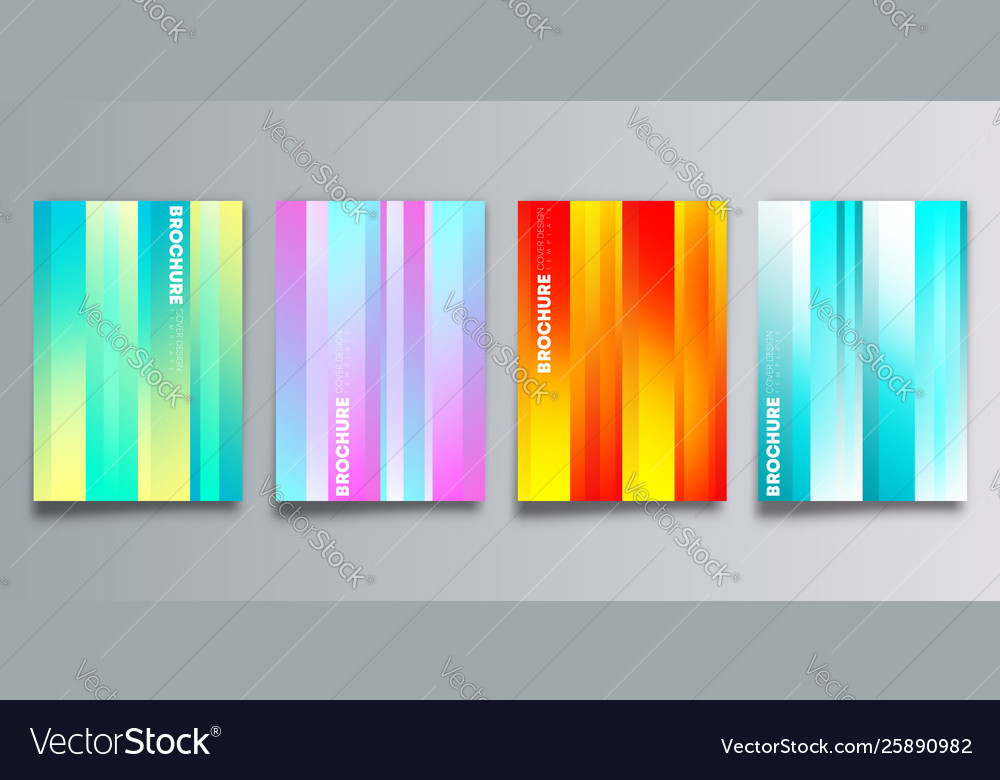 Set colorful gradient cover with stripes