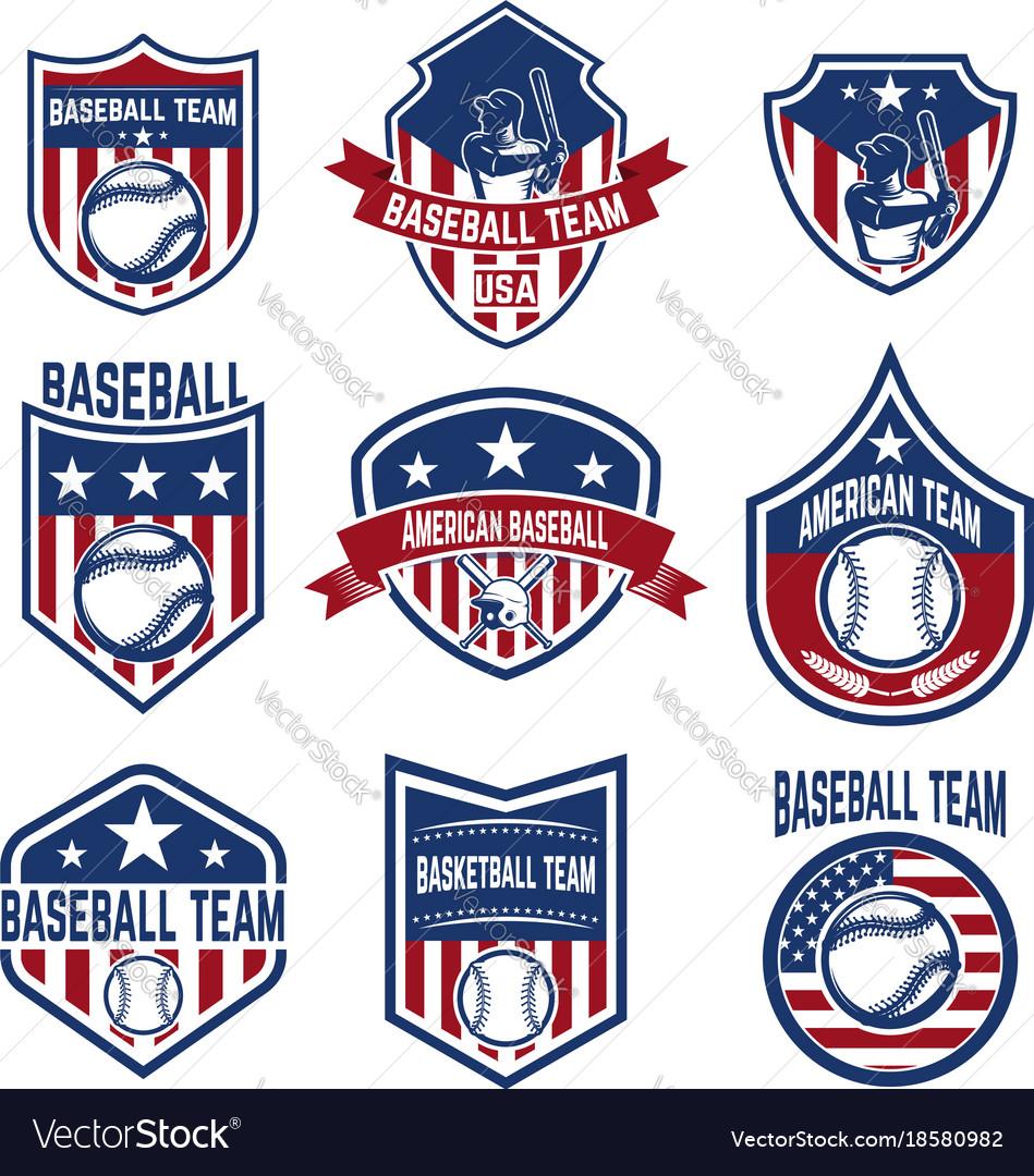 Set of baseball emblems baseball tournament