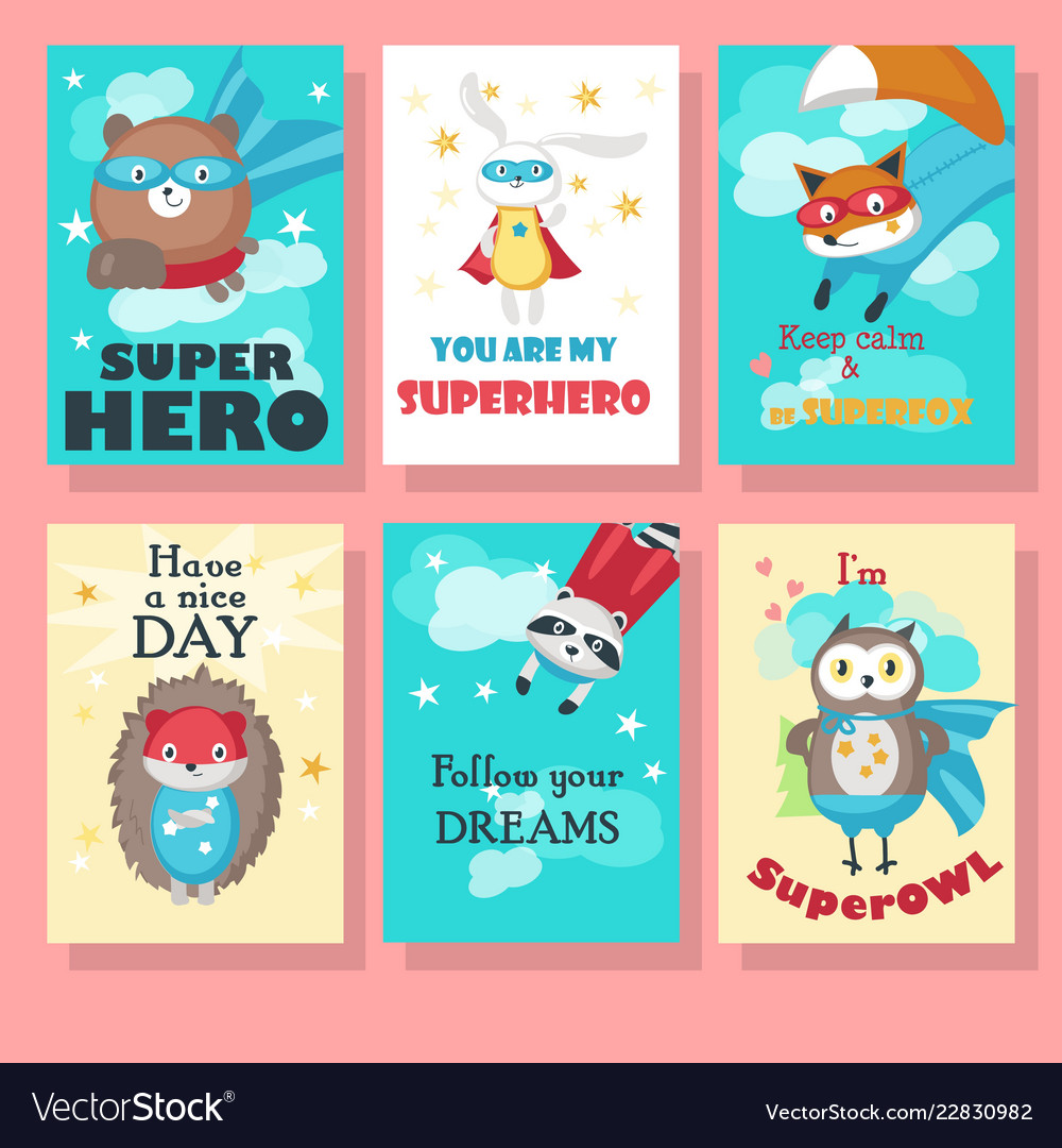 Set of cards with cute superhero animals
