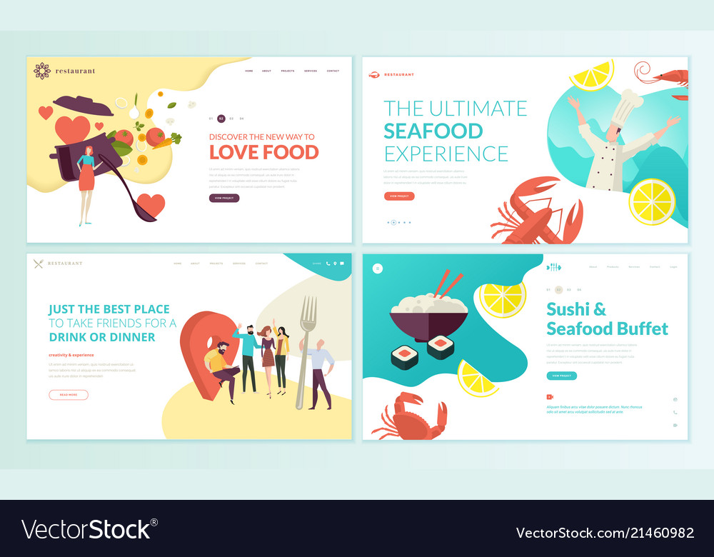Set of web page design templates for food