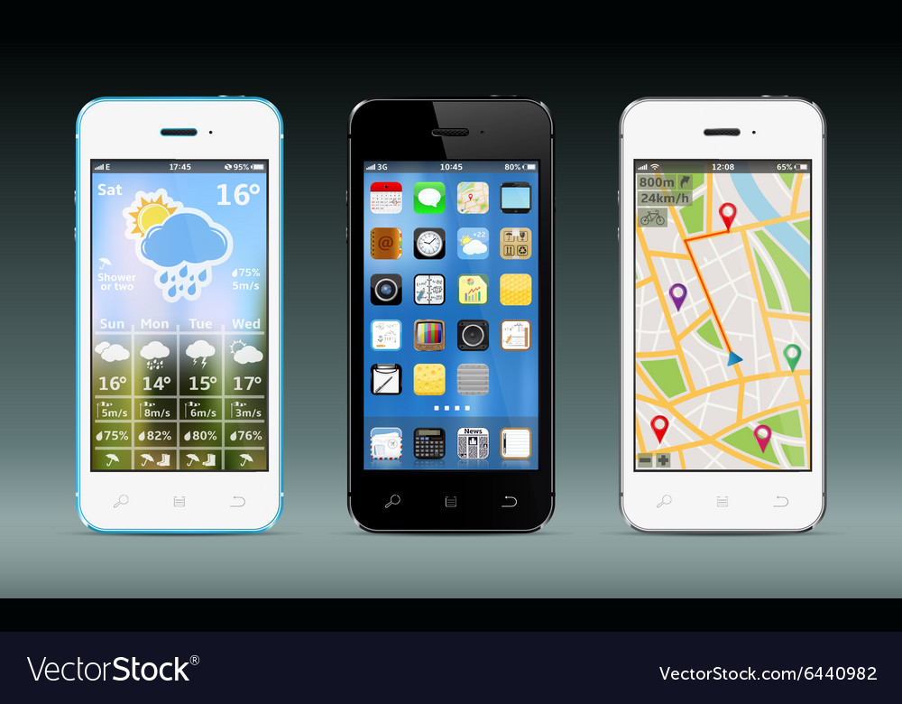 Smart phones with widgets and icons vector image