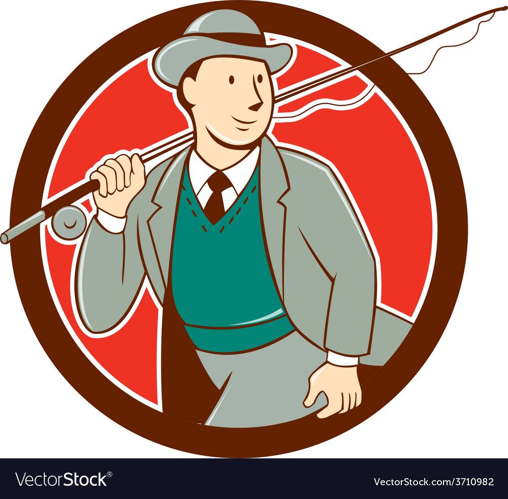 Vintage Fly Fisherman Bowler Hat Cartoon vector image