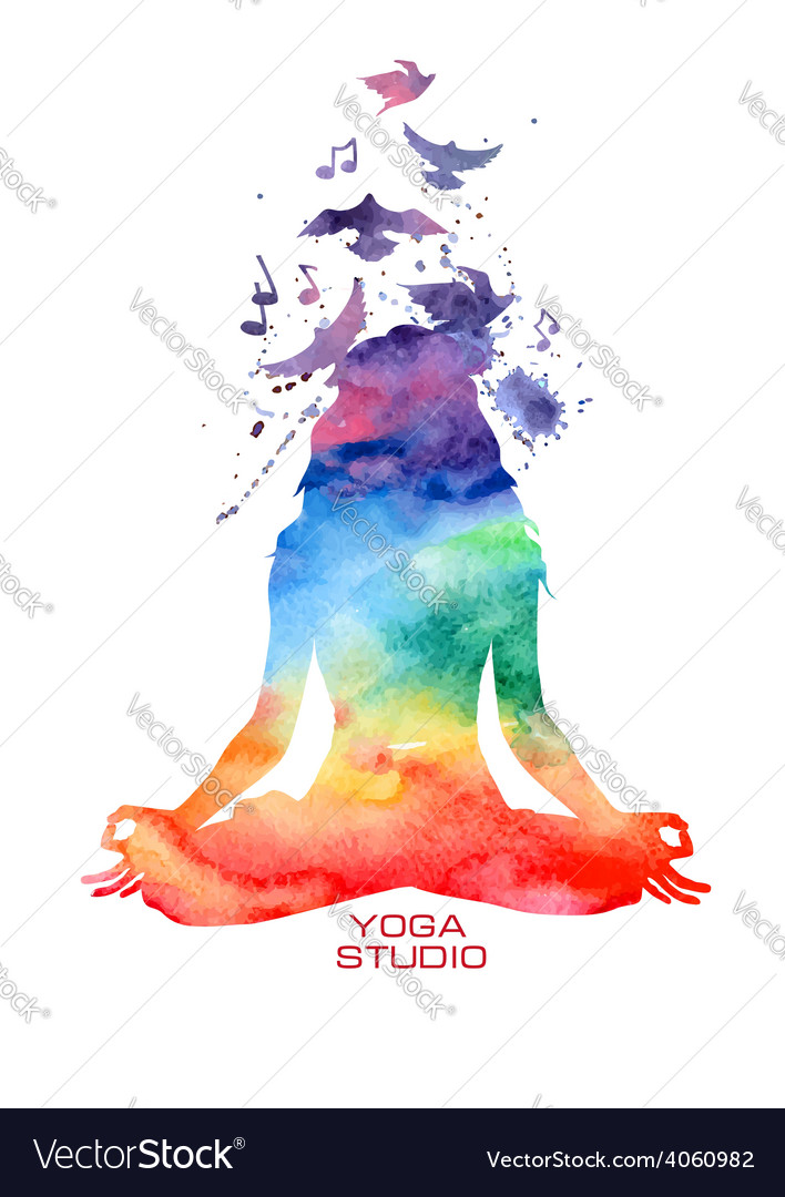 Watercolor woman silhouette of lotus yoga pose vector image