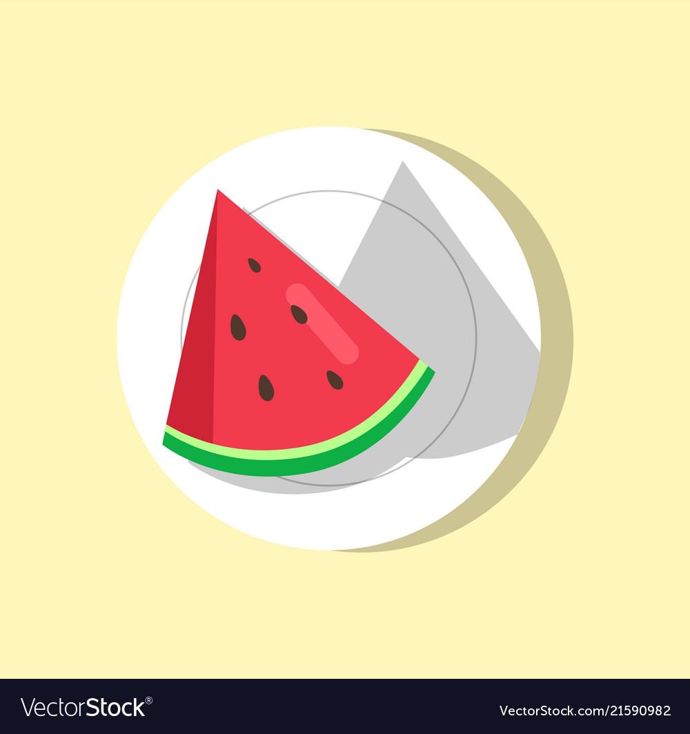 Watermelon slice on plate