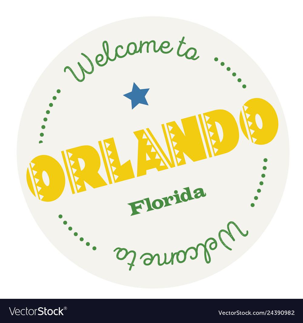 Welcome to orlando florida Royalty Free Vector Image