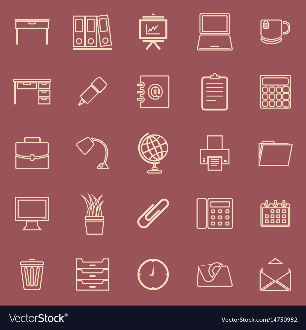 Workspace line color icons on red background vector image
