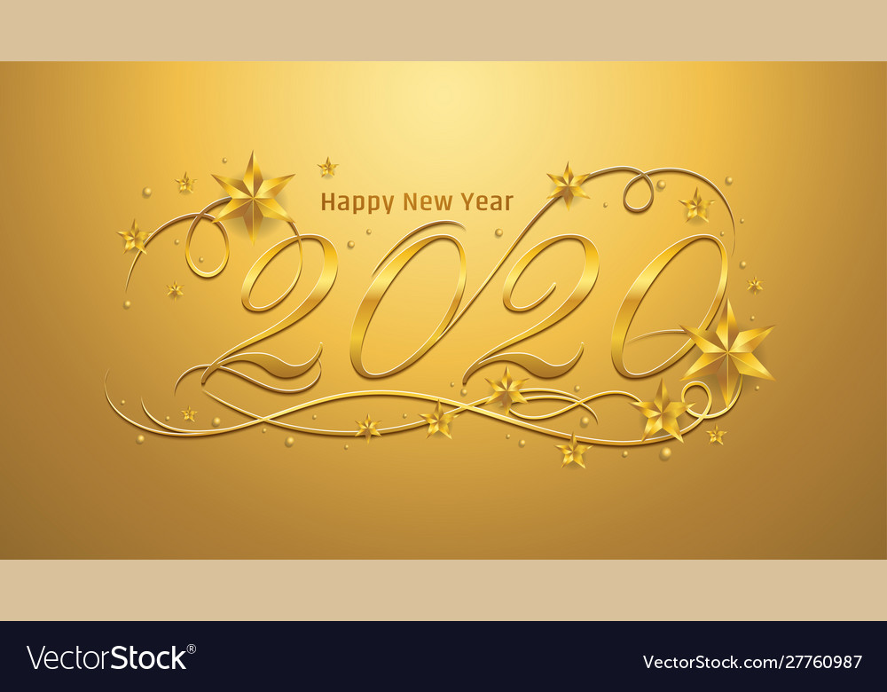 2020 happy new year lettering banner design with