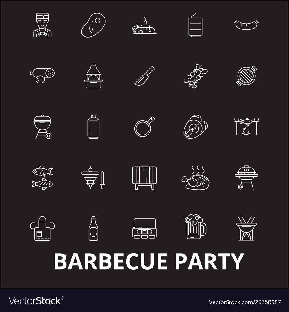 Barbecue party editable line icons set on