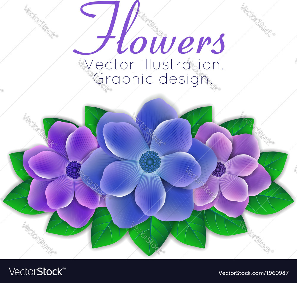Blue And Purple Flowers With Leaves Royalty Free Vector