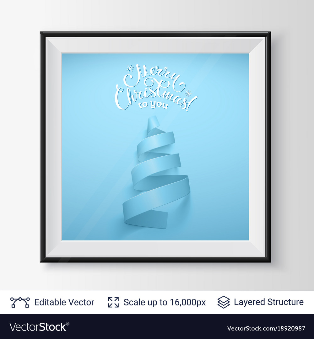 Christmas tree shape of ribbon in a frame vector image