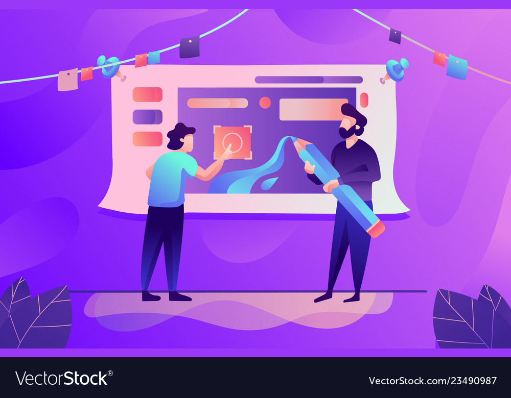 Flat young man with beard work together in design