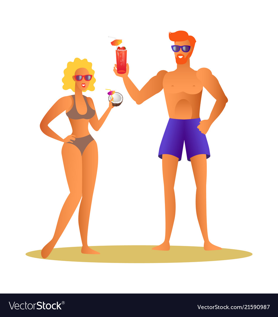 Merry couple at summer drinking cocktail man woman
