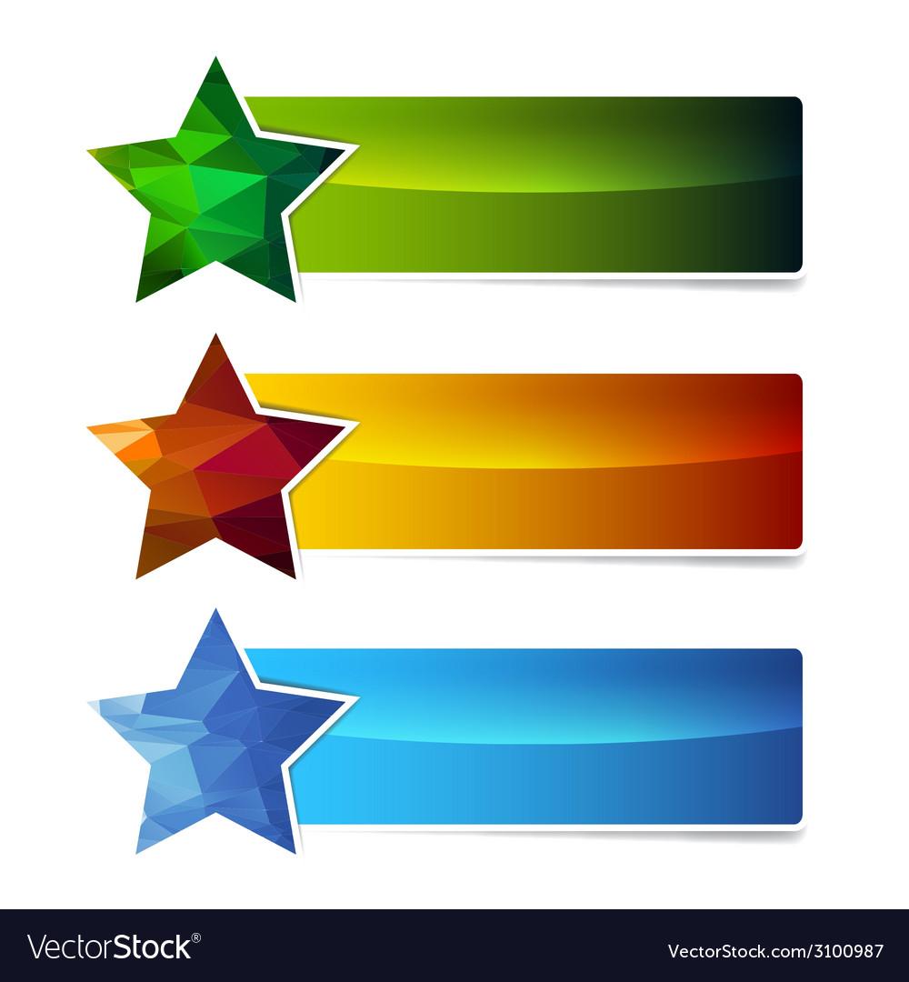 Polygonal star banner set