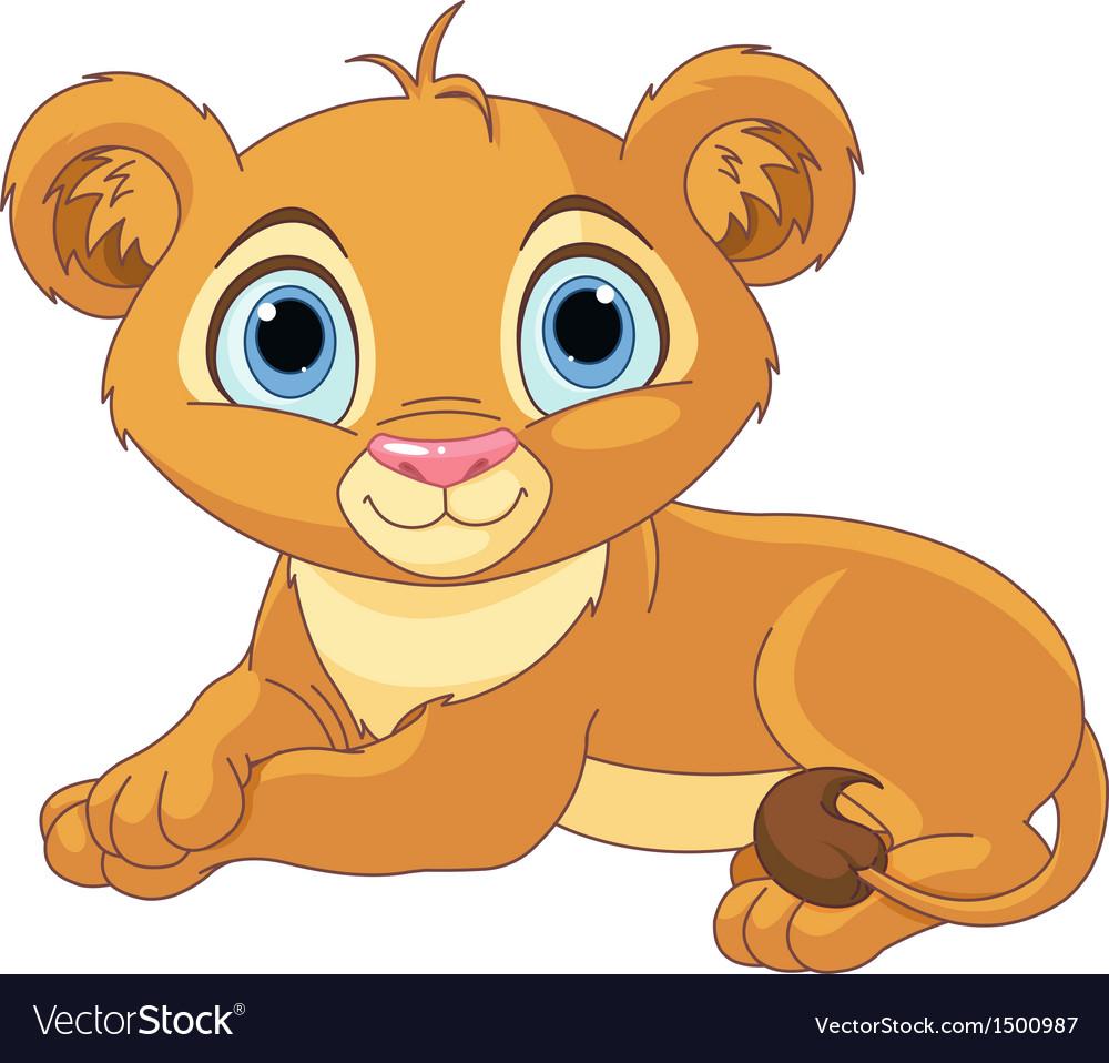 Resting little lion cub