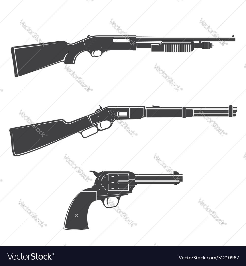 Set gun and rifles silhouette icon
