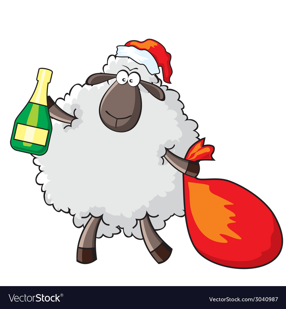 Sheep - santa vector image