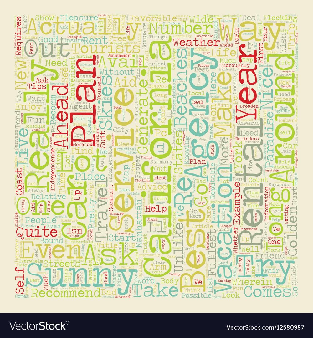 Sunny California Coast Car Rental Services text vector image