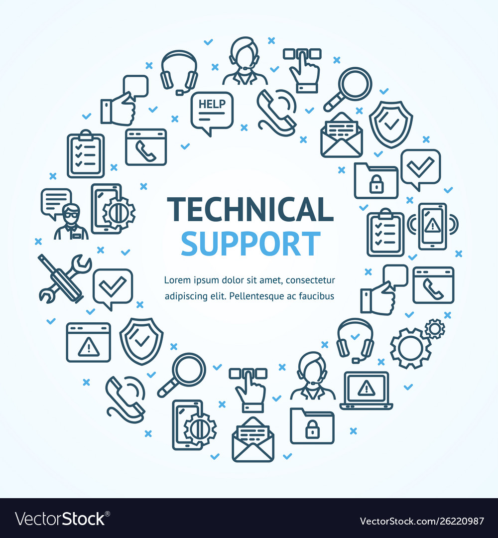 Technical support signs round design template thin