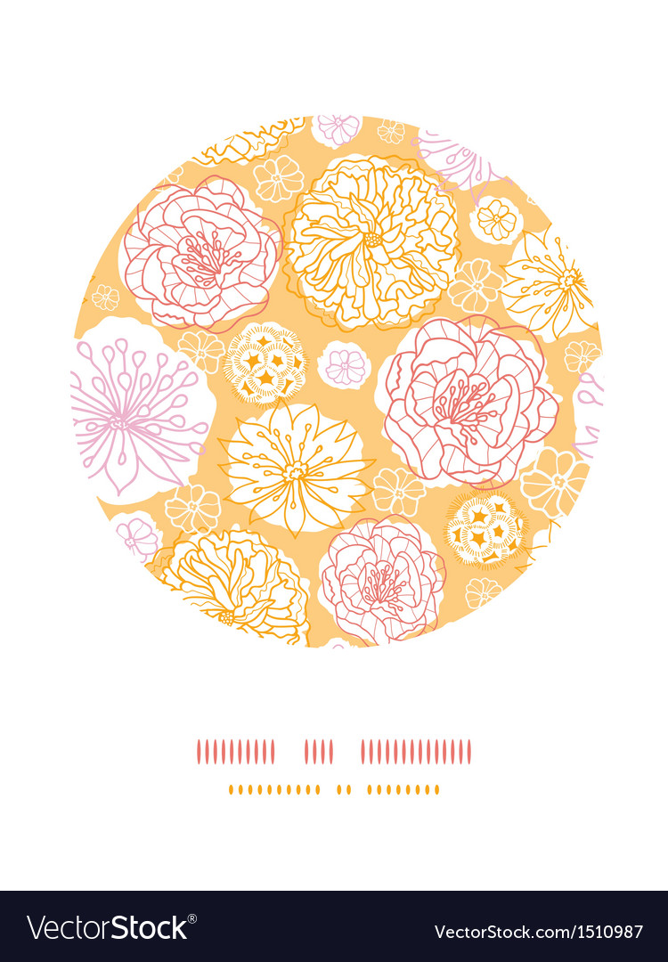 Warm day flowers circle decor pattern background vector image