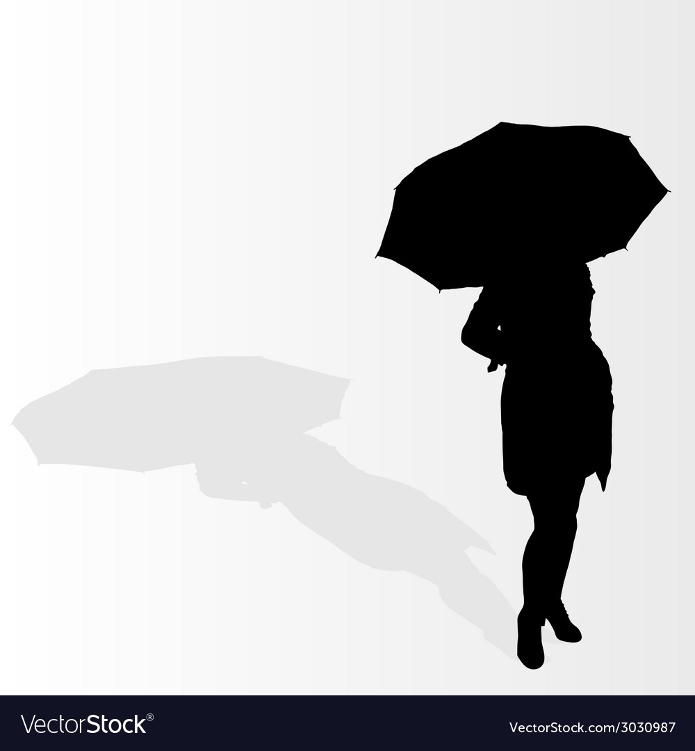 Woman With Umbrella Royalty Free Vector Image Vectorstock