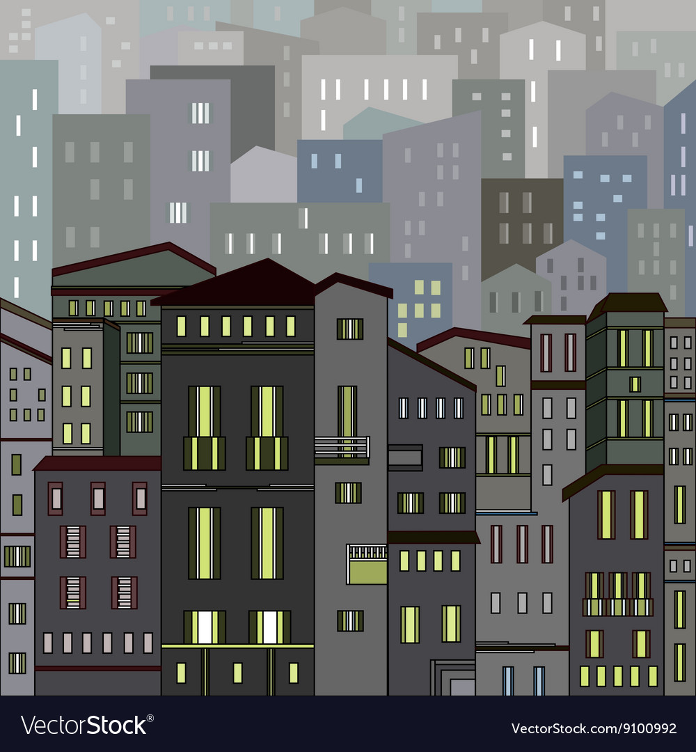 Abstract gray city view in outlines with many hous