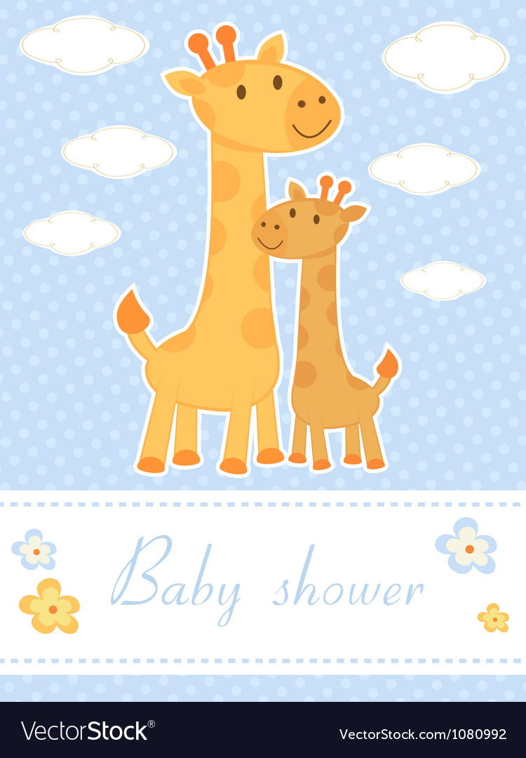 Baby shower card with giraffes vector image