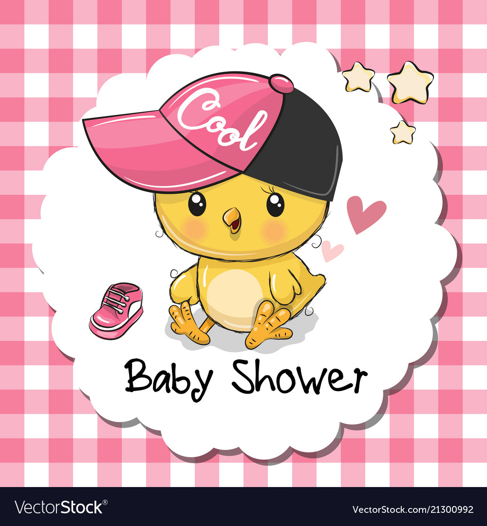Baby shower greeting card with cute chicken girl vector image m4hsunfo