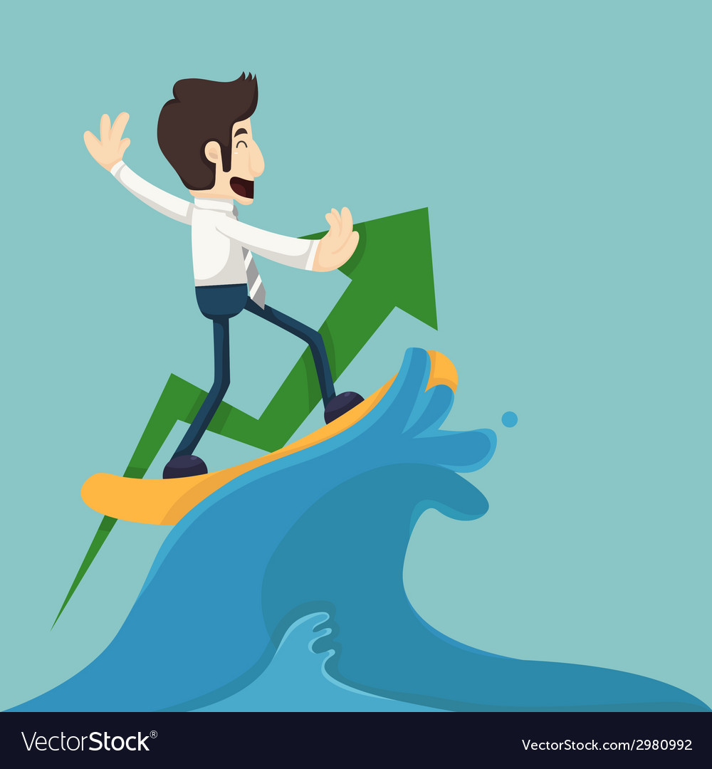 Businessman surfing on wave vector image