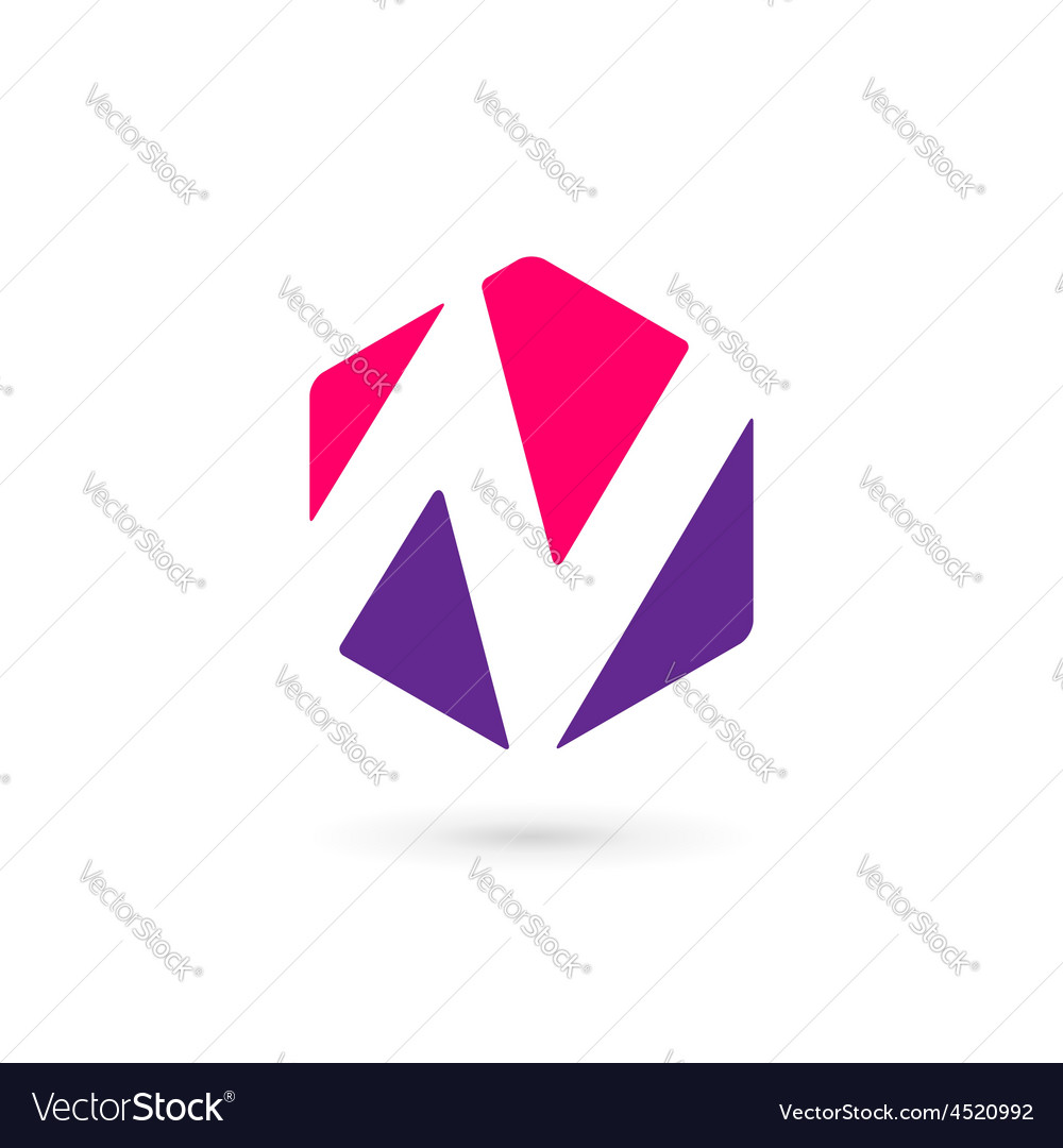 Letter N cube logo icon design template elements