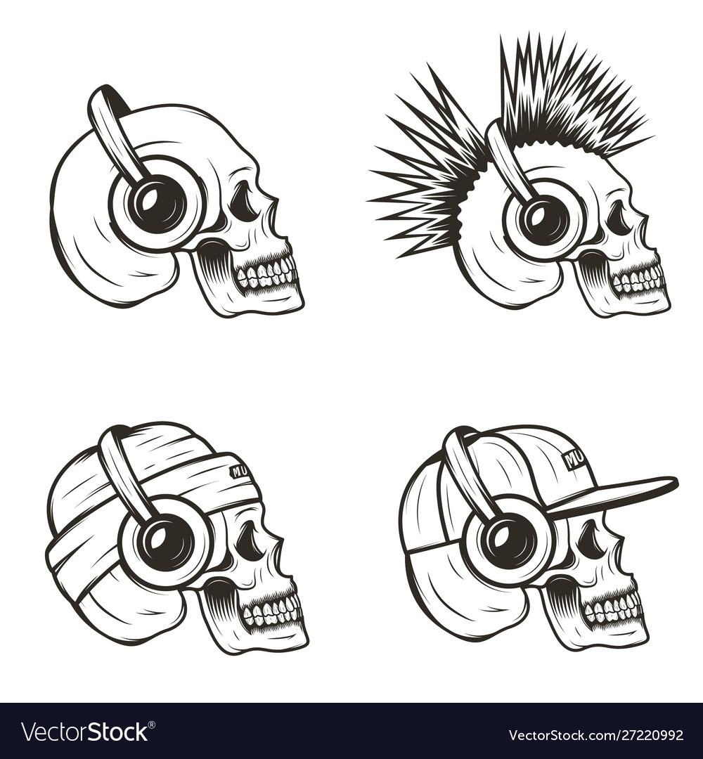 Music skull side view set hand drawn