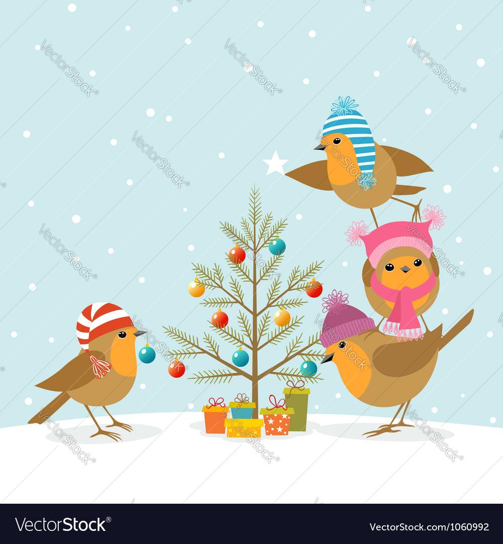 Robins and Christmas tree