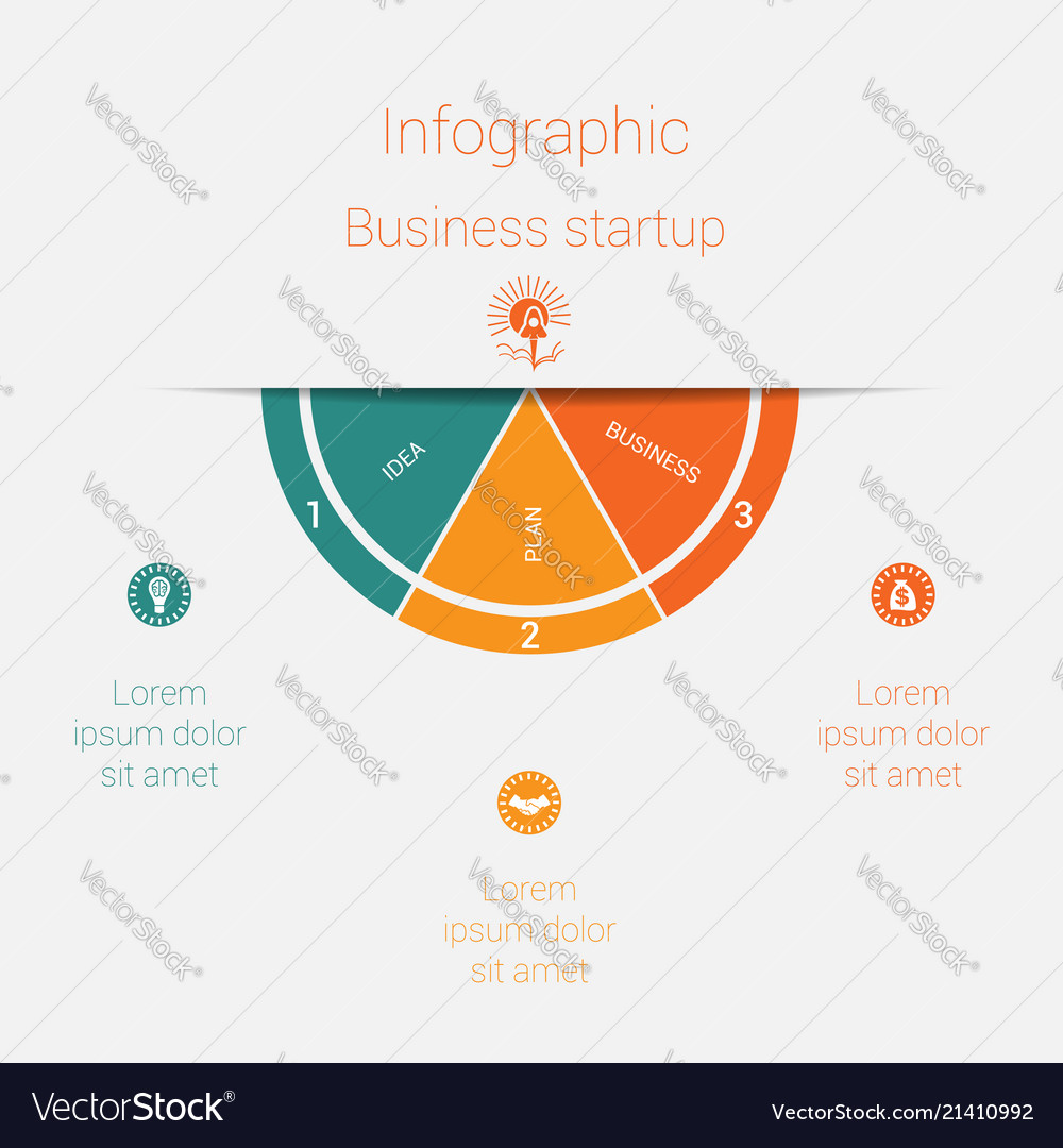 Semicircle template infographics startup business