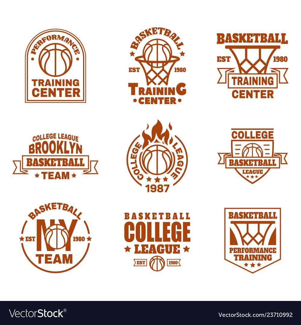 Set isolated basketball icons with ball basket