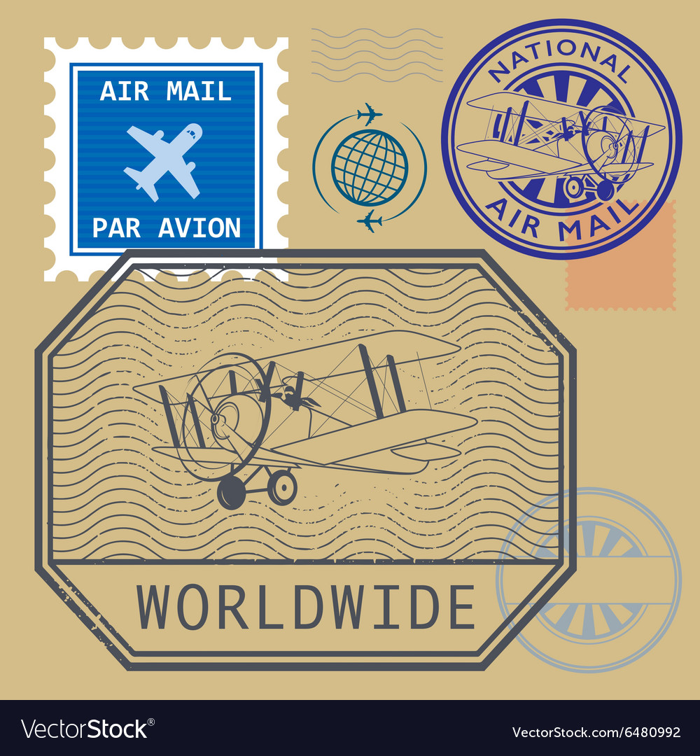 Set of air mail symbols